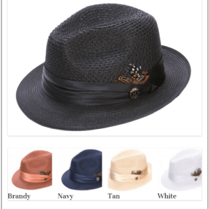 Montique H-24 Mens Straw Fedora Hat Black