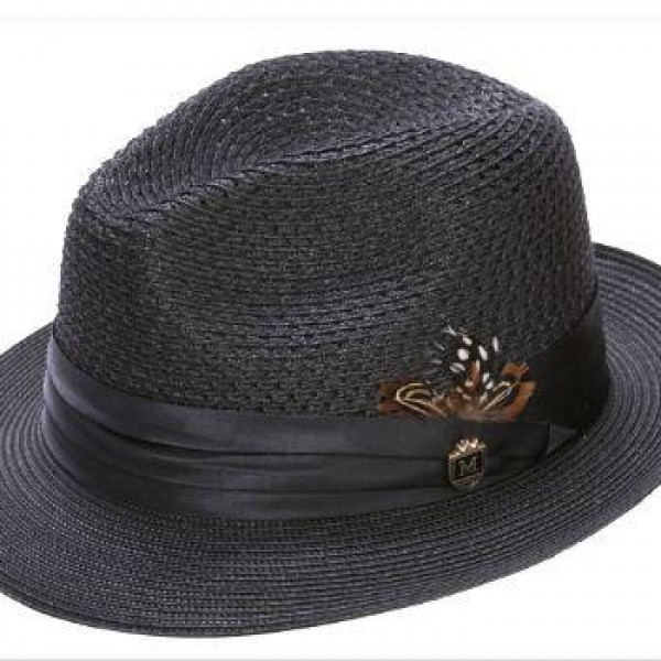17841b13195b9 Montique H-24 Mens Straw Fedora Hat Black - Abby Fashions