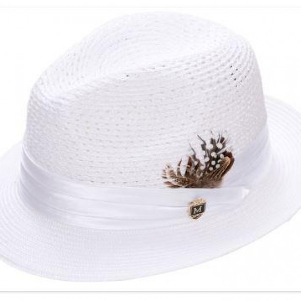 Montique H-24 Mens Straw Fedora Hat White - Abby Fashions 9a380ebee0c7
