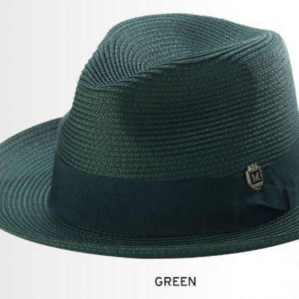 Montique H-42 Mens Straw Fedora Hat Green - Abby Fashions 1d064d0137d