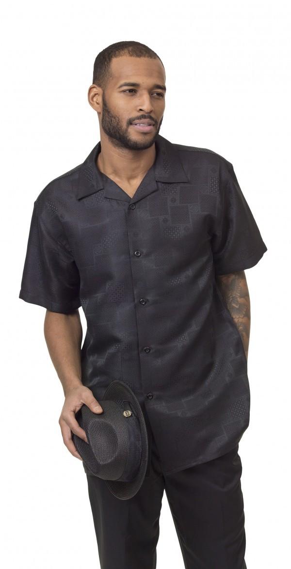 Montique-1836-black-mens-walking-suit-mens-2pc-leisure-suits-short-sleeve