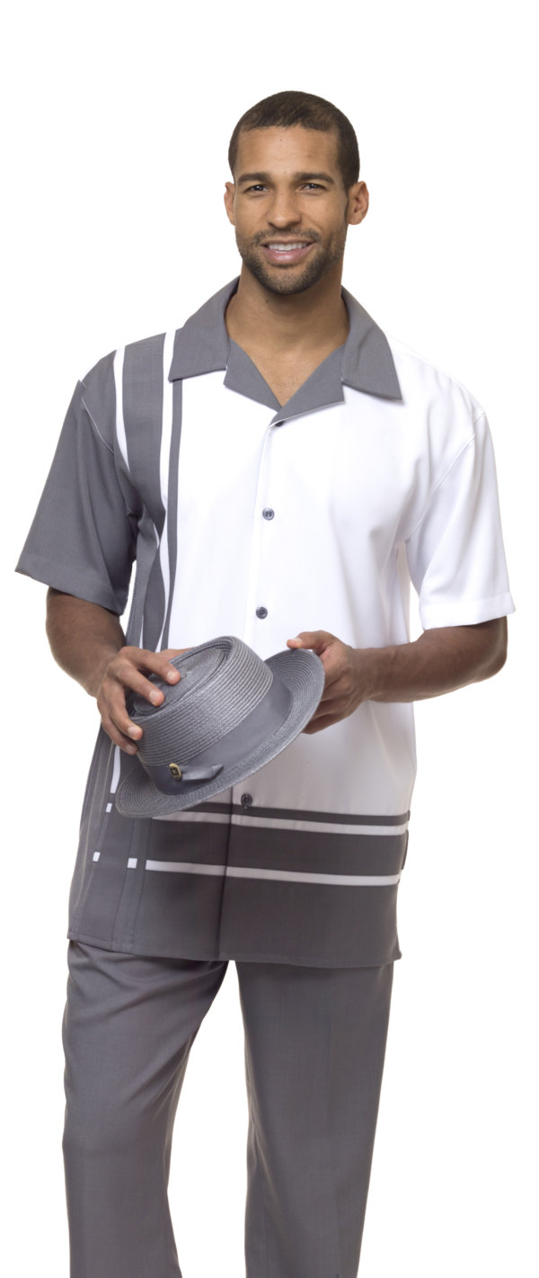 Montique 1877 Gray Mens Walking Suit Mens 2pc Leisure Suits Short Sleeve 600x1421, Abby Fashions