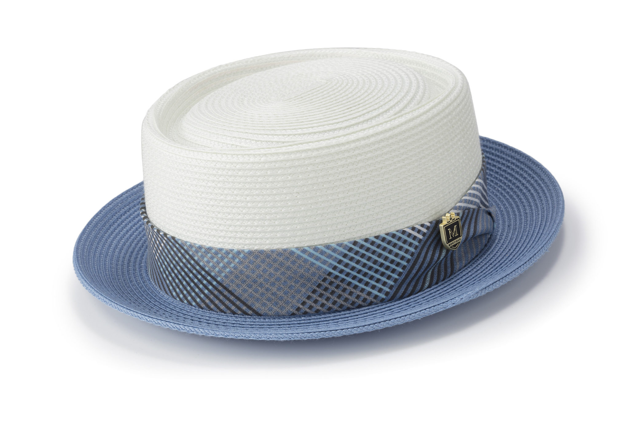 ffe9643ecfe63 Montique H-1834 Mens Straw Pork Pie Hat Blue - Abby Fashions