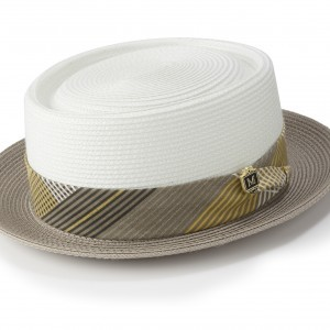 Montique H-1834 Mens Straw Pork Pie Hat Gold