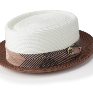 Montique H-1834 Mens Straw Pork Pie Hat Cinnamon