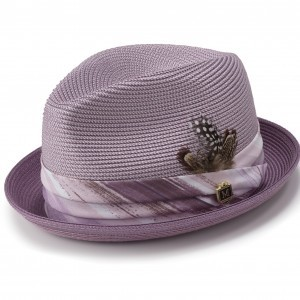 Montique H-1844 Mens Straw Matching Hat Lavender