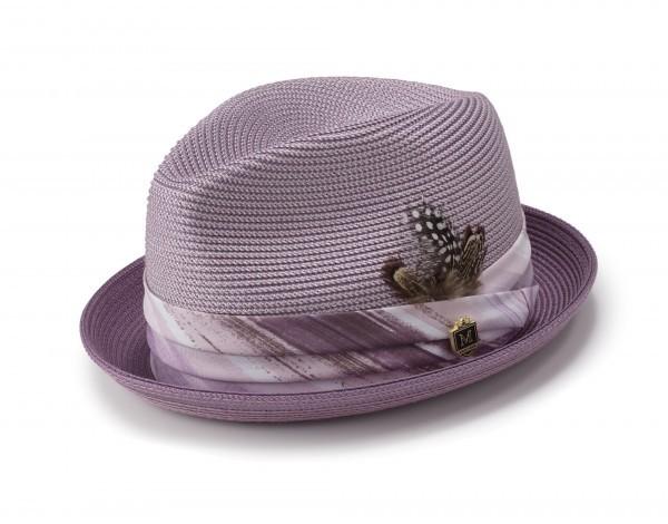 Montique H-1844 Mens Straw Matching Hat Lavender - montique-h-1844-mens-matching-hat-lavander