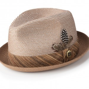 Montique H-1846 Mens Straw Matching Hat Caramel