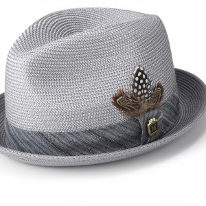 Montique H-1846 Mens Straw Matching Hat Grey