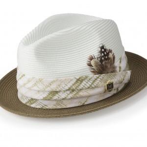 Montique H-1847 Mens Straw Matching Hat Olive