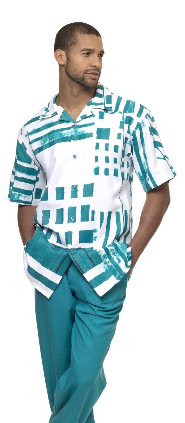 Montique-1839-emerald-mens-walking-suit-mens-2pc-leisure-suits-short-sleeve