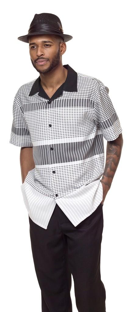 Montique 1840 Black Mens Walking Suit Mens 2pc Leisure Suits Short Sleeve, Abby Fashions