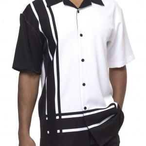 montique-1777-walking-suit-black-white-short-sleeve-leisure-suits