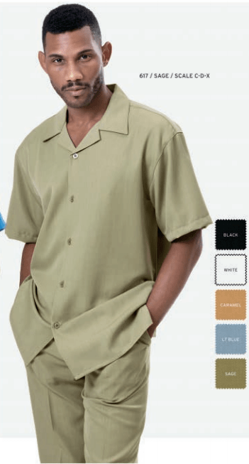 Mens Walking Suits Montique 617 Sage Short Sleeve, Abby Fashions