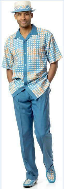 Montique 1730 Walking Suit Blue Short Sleeve Leisure Suits, Abby Fashions