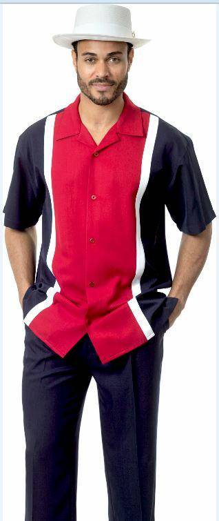 Montique 1732 Walking Suit Navy Red Short Sleeve Leisure Suits, Abby Fashions