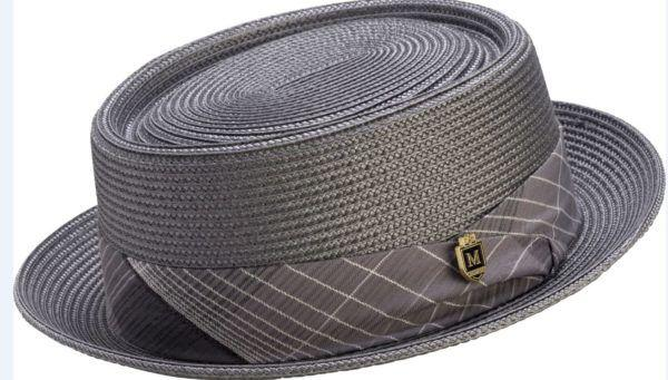 1a22574ca30 Montique H-1741 Mens Straw Pork Pie Hat Grey - Abby Fashions