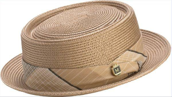 f634fb0d69d Montique H-1741 Mens Straw Pork Pie Hat Tan - Abby Fashions - photo