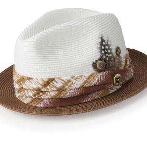 Montique H-1847 Mens Straw Matching Hat Caramel