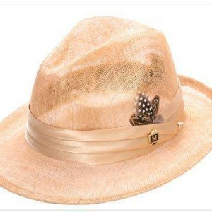 Montique H-23 Mens Sinamay Pinch Fedora Hat Straw