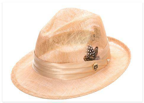 Montique H 23 Mens Straw Sinamay Pinch Fedora Hat, Abby Fashions