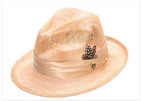Montique H-23 Mens Sinamay Pinch Fedora Hat Straw