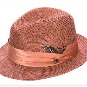 Montique H-24 Mens Straw Fedora Hat Brandy