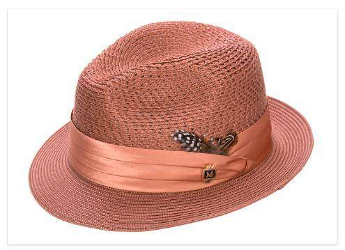 8dfa21d43c3 Montique H-24 Mens Straw Fedora Hat Brandy - Abby Fashions - photo 31