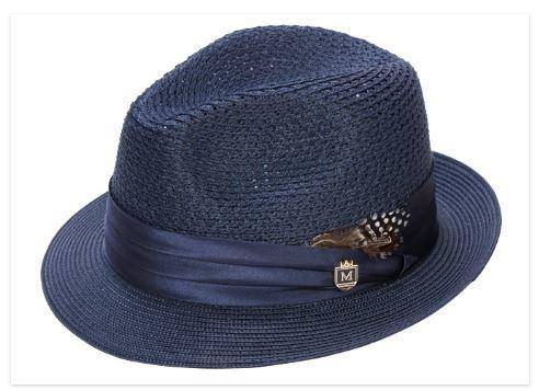 2411975270d2f Montique H-24 Mens Straw Fedora Hat Navy - Abby Fashions