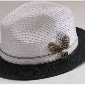 Montique H-31 Mens Straw Fedora Hat Black-White