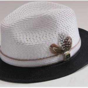 montique-h-31-mens-braided-two-tone-pinch-fedora-hat-black-white