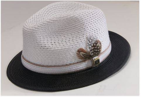 8a5e60ce808 Montique H-31 Mens Straw Fedora Hat Black-White - Abby Fashions