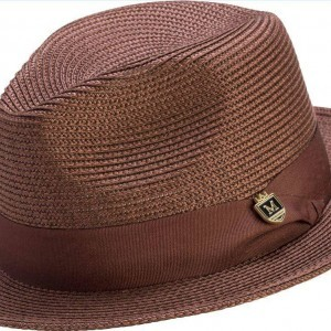 52684de4d91 Montique H-42 Mens Straw Fedora Hat Brown