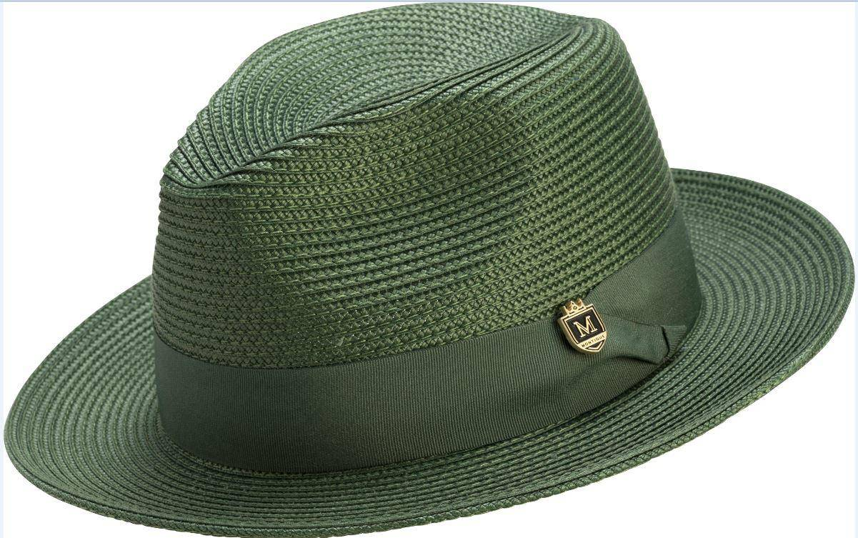 Montique H-42 Mens Straw Fedora Hat Hunter - Abby Fashions 3cbaa1fb6d6