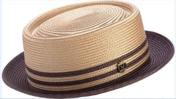 1c3e1910 Montique H-51 Mens Straw Pork Pie Hat Brown - Abby Fashions