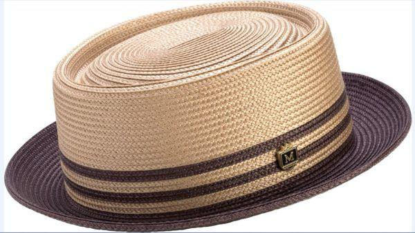 3d3a19ae8 Montique H-51 Mens Straw Pork Pie Hat Brown - Abby Fashions