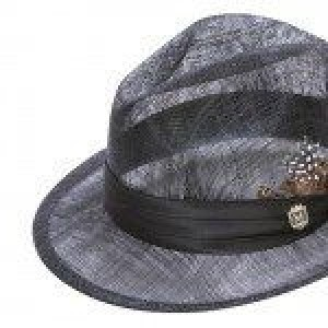 Montique H-23 Mens Sinamay Pinch Fedora Hat Black