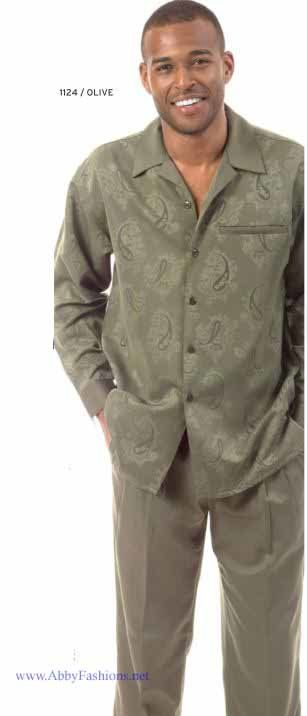 Montique Mens Walking Suits 1124 B Olive Long Sleeve, Abby Fashions