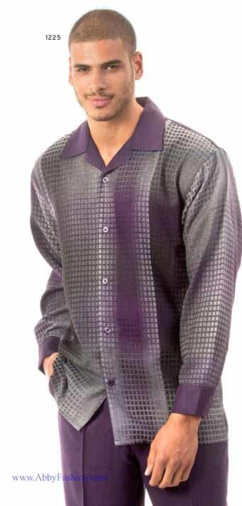 Montique Mens Walking Suits 1225 Purple Long Sleeve, Abby Fashions
