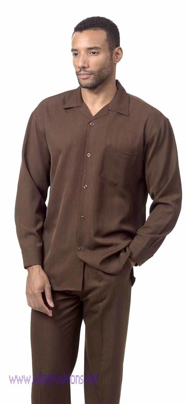 Montique Mens Walking Suits 1641 Brown Solid Color Long Sleeve 600x1300, Abby Fashions