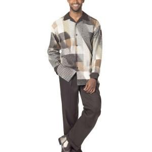Montique 1717 Mens Walking Suit – Brown Long Sleeve Mens Leisure Suits