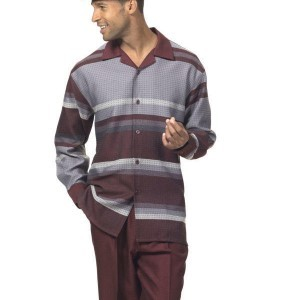 Montique 1719 Mens Walking Suit – Burgungy Long Sleeve Mens Leisure Suits
