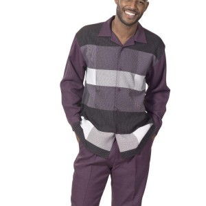 Montique 1739 Mens Walking Suit – Plum Long Sleeve Mens Leisure Suits