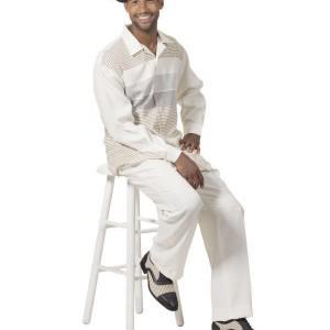 Montique 1753 Mens Walking Suit – Cream Long Sleeve Mens Leisure Suits