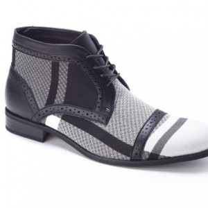 Montique S-1778 Men's Shoes Matching Boots Black-White