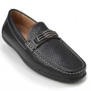 Montique S-71 Men's Metal Bit Perforated Casual Loafers Black