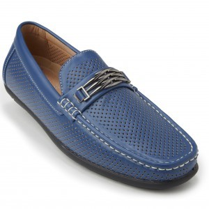 Montique S-71 Men's Metal Bit Perforated Casual Loafers Navy
