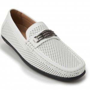 Montique S-71 Men's Metal Bit Perforated Casual Loafers White