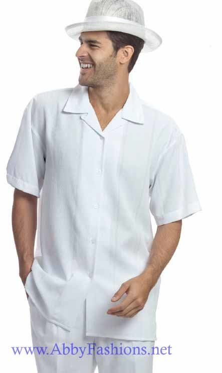 Walking Suits Montique 627 White Short Sleeve Set, Abby Fashions