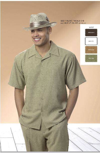 Walking Suits Montique 632 Olive Short Sleeve Set, Abby Fashions